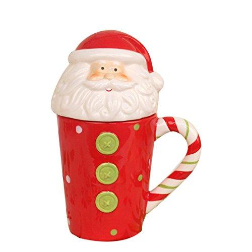OAMORE 3D Weihnachtsbecher Festliche Party Weihnachtstassen Tassen Hauptküche Tee Kaffeetassen Weihnachtsgeschirr Weihnachtsporzellan Neuheit Becher (Weihnachtsmann)