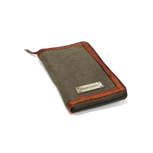 DRAKENSBERG Travel Wallet - Portafoglio da viaggio e custodia per passaporto, organizzatore per documenti, realizzato a mano in stile retrò vintage, tela e pelle, verde oliva, DR00171