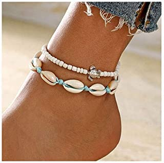 Aluinn Boho Turtle Layered Shell Anklet Set Silver Ankle Bracelets Beaded Foot Chain Beach Foot Jewelry Accessories for Women and Teen Girls