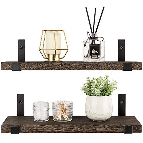 Industrial Pipe Shelving Rustic Wood Floating Shelves 3 Tiers Modern Wall Mount Bookshelf(Black,32 inch)