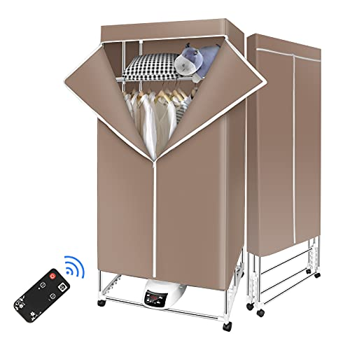 bigzzia Clothes Dryer Portable Warm Air Drying Wardrobe 3 Tier Large Capacity Foldable Quick Dry Energy Saving Electric Clothing Dryers with Remote Control for Indoor
