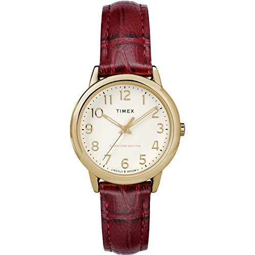 Timex Women's TW2R65400 Easy Reader Signature 30mm Burgundy/Cream Leather Strap Watch
