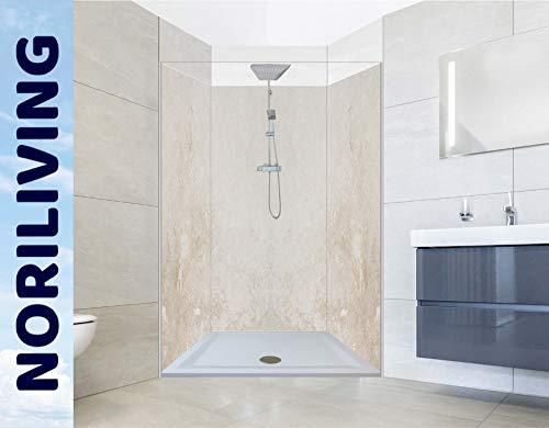 NORILIVING Duschrückwand für Dusch-Nischen (3-teilig) - Fugenlose Badezimmer Wandverkleidung aus Alu-Verbundplatten mit kostenlosem Zuschnitt auf Ihr Wunschformat