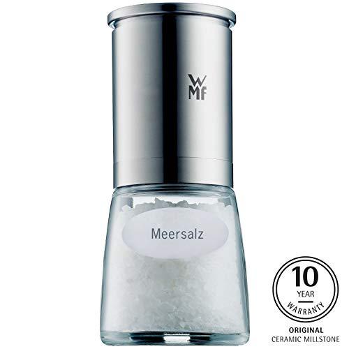 WMF De Luxe Salzmühle, befüllt, Cromargan Edelstahl Glas, Keramikmahlwerk, Mühle für Salz, Pfeffer, Chillischoten, H 14 cm
