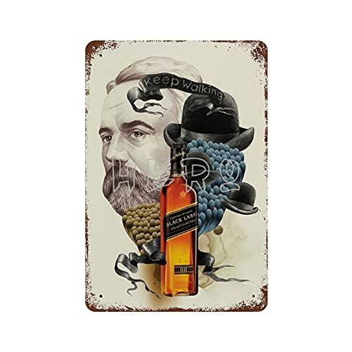 XREE Letrero de metal retro con texto en inglés 'Keep Walker', diseño de whisky escocés Johnnie Walker Black LABEL Keep Walking. Cartel oxidado