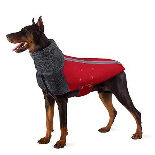 Lukovee Hundejacke Winter Weste, Hund Wintermantel mit Warme Polar Fleece Futter Hund Outdoor Jacke Rollkragen Schal Reflektierenden Streifen Verstellbar Wasserdicht Winddicht Welpen Outfit (XXL, Rot)