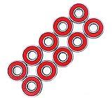 YFOX Rodamientos rígidos de Bolas 608RS de 8x22x7mm,rodamientos de Bolas Dobles de Goma roja sellados,adecuados para rodamientos de Skate,Patines,Patines en línea (10 Juegos)