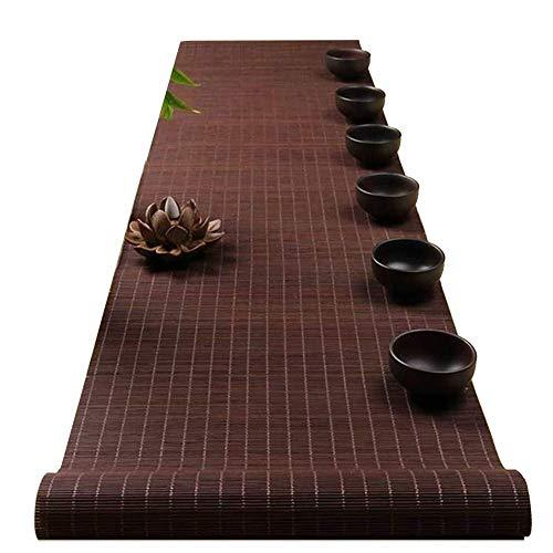 GAXQFEI Camino de Mesa Tradicional de Bambú, Estilo de Granja, Tapete de Listones Antideslizantes, Manteles Individuales para Mesa de Centro de Cena Al Aire Libre, Enrollados,30Cm * 180Cm(12'×71')