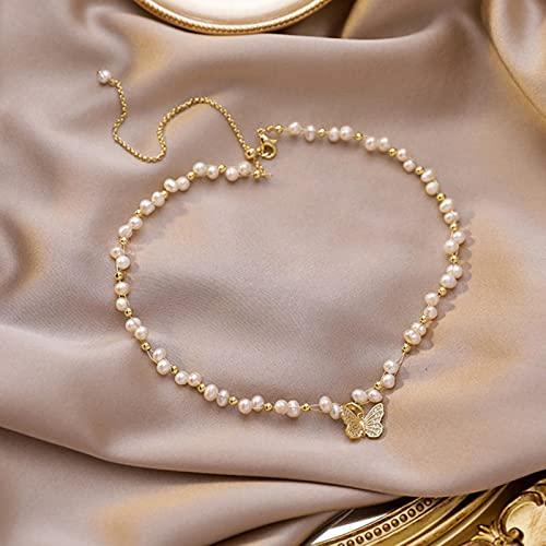 SONGK Joyería Elegante Gargantilla de Perlas barrocas Collares Encantador de Mariposa Collares de Perlas de Agua Dulce Naturales Collar Boda