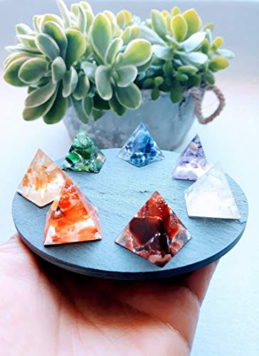 Cristal de pirámides de chakras, Conjunto de pirámides de 7 chakras, elaborado...