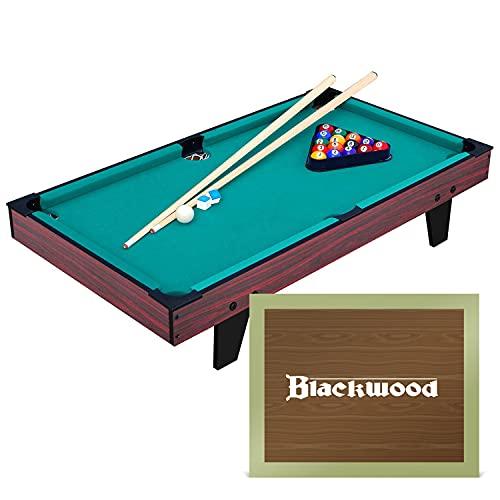Blackwood Mini tavolo da biliardo Junior 3' – per bambini – Tavolo Billiard con accessori, set di stecche incluse, palline, triangolo e gesso, mini – 95 x 51,5 x 20,1 cm