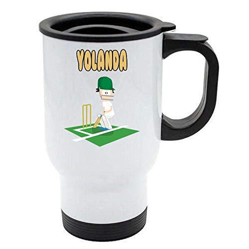 Yolanda – Taza de viaje de críquet – Regalo personalizado para cenizas, hobby