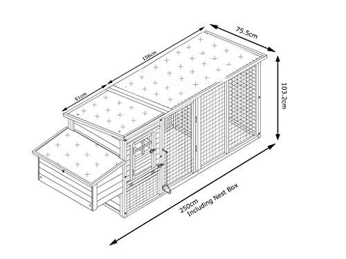 Hühnerstall Hühnerhaus Cocoon Hühnerstall grosser Hühnerstall Hühnerhaus Winter sommer Modell 2 bis 4 Huhner 2.5m lang mit Nistkasten und einem Dach das vollständig geoffnet werden kann – komplett uberdachter Laufstall - 5