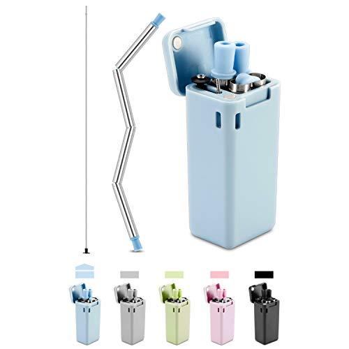 Qisiewell Edelstahl Trinkhalm Strohhalm Wiederverwendbar Faltbar Zusammenklappbar Mit Schlüsselhalter Reinigungsbürste (Blau)