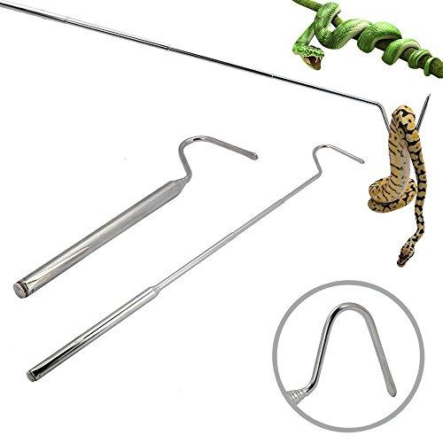 SENZEAL Retractable Schlangenhaken Edelstahl Haken Professionelle Reptilien Zubehör für Snake Lovers Silber