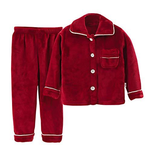 Amuse-MIUMIU Jungen Mädchen verdicken Schlafanzug Flanell Winter Pyjama,Schlafanzug mit Knopfleiste Langarm Zweiteiliger Hausanzug, für 0-8 Jahre