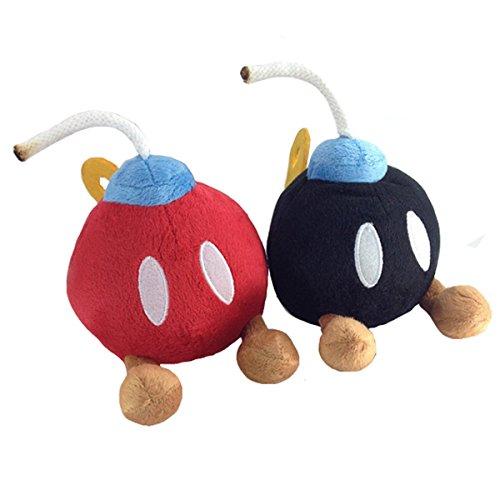 Super Mario Bros. 2 Bob-omb Bomb Red Black Plush Soft Toy Stuffed Animal 5.5' (Pack of 2)