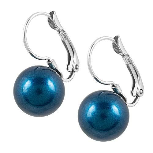 petra kupfer Damen Ohrringe Silber - Swarvoski Perlen Ohrhänger in blau grau (petrol) mit 12mm Swarovski® Pearl
