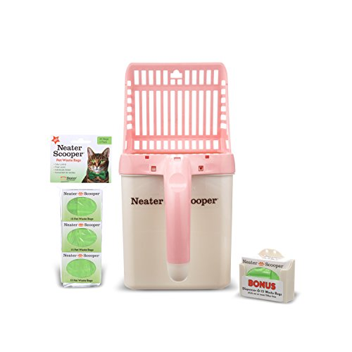 Neater Pet Brands  Neater Scooper and 60 Count Refill Bag Bundle  Cat Litter Sifter Scoop System with Extra Waste Bags Pink
