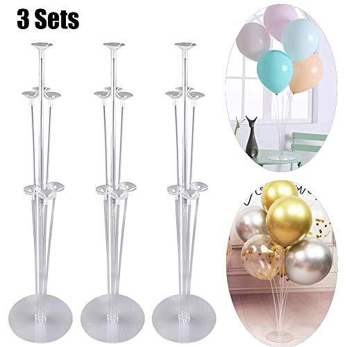 WE-WIN Kit de Soporte de Globo de 3 Juegos con 7 Palos, 7 Tazas y 1 Base - Decoraciones de Mesa de Centro de Mesa para la Fiesta de cumpleaños de la Boda Baby Shower