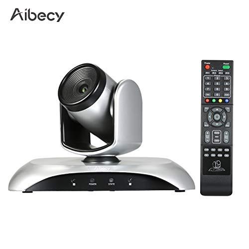 Entweg Cámara de videoconferencia HD 1080P Cámara web de gran angular con enfoque fijo Compatible con compresión dura H.264 Rotación de 355 ° con control remoto