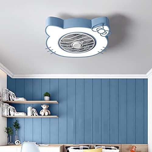 Infantil Ventilador Techo Con Luz LED, Moderna Regulable Ventiladores De Techo Con Luz, Mando A Distancia Lámparas De Techo 46W, Ventilador Techo Con Luz Silencioso, Para Dormitorio, Salón,Azul