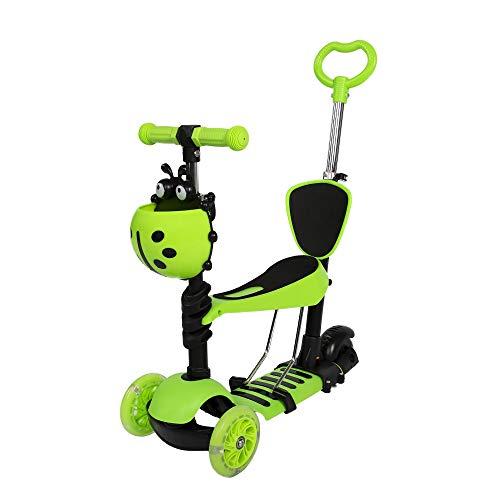 COSMOLINO Scooter per Bambini 5 in 1, Scooter per Bambini, Scooter, Monopattino con Sedile Rimovibile Regolabile e Maniglia di Spinta, Ruote Lampeggianti a LED per Bambini (Verde)