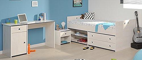 Wohnorama Schlafzimmer 3-TLG. inkl 90x200 Stauraumbett u Schreibtisch Smoozy 27a von Parisot Kiefer Weißs Blau by