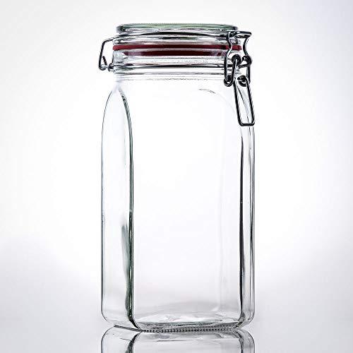 Flaschenbauer- 12 Drahtbügelgläser 1550ml verwendbar als Einmachglas, zu Aufbewahrung, Gläser zum Befüllen, Leere Gläser mit Drahtbügel