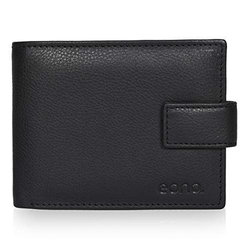 Eono by Amazon 7 Credit Card Leather Wallet- RFID Slim Wallets for Men with 2 ID &Coin Pocket (Black Smooth Nappa)