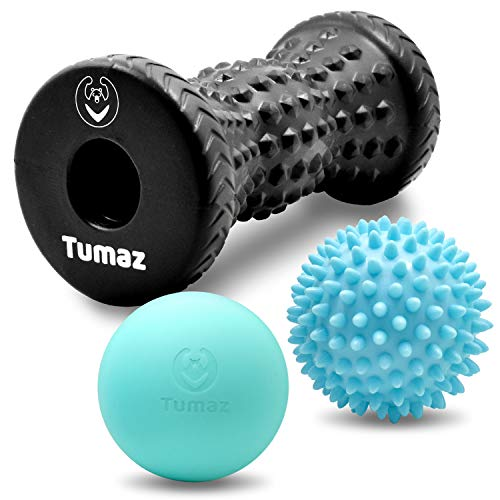 Best Price! Tumaz Massage Ball & Foot Roller 3-in-1 Set with Spiky Ball, Lacrosse Ball, Massage Roll...
