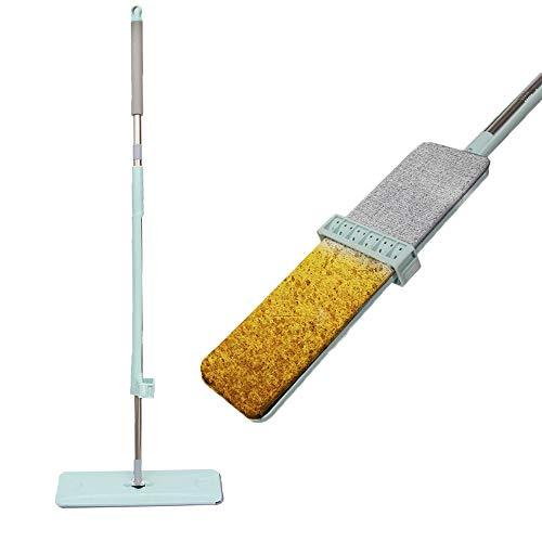 Piatta Microfibra Moci Piatto Mocio Vibrante Kit per la Pulizia del Pavimento Asciutto e Umido Doppio Pad autoportante Lavaggio a Mano Libera per Piastrelle in Legno Duro Cucina per Ufficio a casa