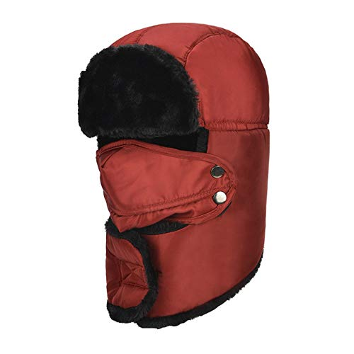 LILONGXI Winter Oor Masker Hoed, Winter Russische Bommenwerpers Catcher Hoed Bruin Faux Bont Riem Unisex Waterdichte Oor Flap Winddicht Ski Masker Outdoor Lei Feng Cap