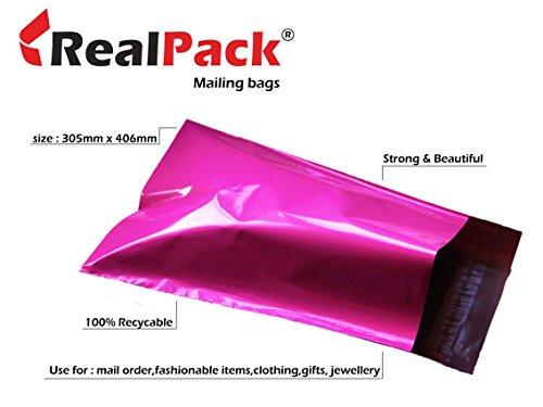 Realpackâ ® 100x rosa plastica Poly buste per spedizioni buste formato 30,5x 40,6cm 305mm x 406mm + labbro (40mm) DVD postale free Fast Shipping