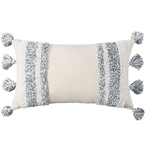 Tufted Cojín Throw Covers Funda de Almohada Decorativa Bordada Indio con borlas de Sofá Sofá Cama Dormitorio 30x50cm