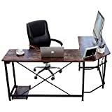 Oudort Office Desk, L-Shaped Corner Computer Desk for Office & Home Gaming, Easy to Assemble, PC Laptop Study Workstation, Writing Table, Light Walnut Brown