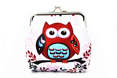Pu Leather Coin Purse Cute Animal Owl Wallet Bag Change Pouch Gifts for Women Kids Girls Key Holder