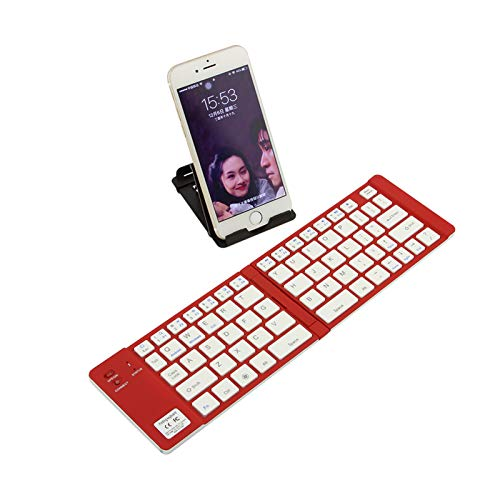 Foldable Bluetooth Keyboard,Portable Mini Wireless Keyboard with Stand Holder, Rechargeable Ultra Slim Folding Keypad for iOS Android Windows Smartphone Tablet and Laptop (Red)