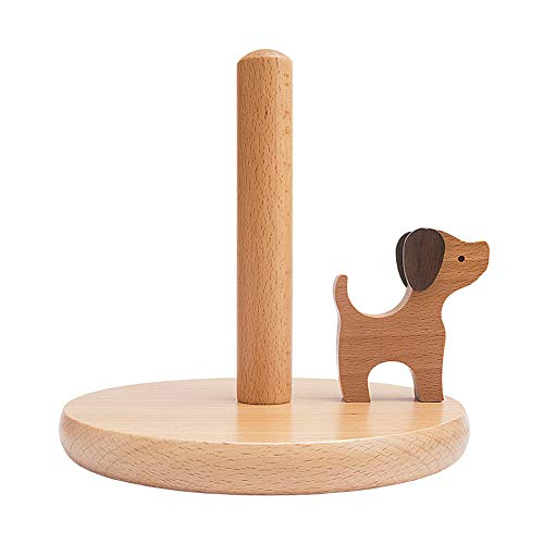 Soporte para Rollo de Cocina, Soporte Papel Cocina Vertical de Madera, Madera Portarrollos para Papel, Redondo Porta Rollos de Papel, Vertical, Madera, Forma Animal(Dog)