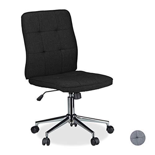 Relaxdays Sedia da Ufficio Altezza Regolabile Girevole ergonomica Comoda carico Max 120 kg, Metallo, Nero, HxLxP 104 x 60 x 60 cm