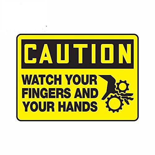 A/X 13cmx9.3cm Etiquetas de Advertencia Precaución Etiqueta engomada del Coche Mirar Sus Dedos Y Sus Manos