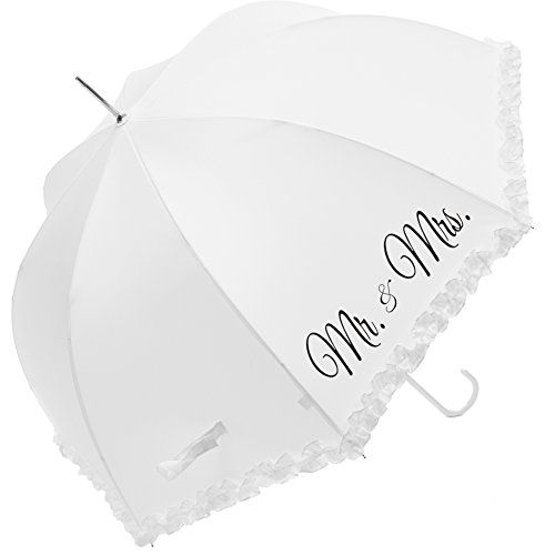 Susino Parapluie Mariage - MR & MRS Regenschirm, 86 cm, 90 liters, Weiß (Blanc)