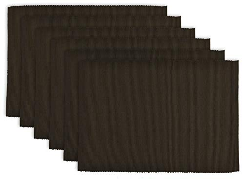DII 100% Cotton Basic Ribbed Placemat Set, Set of 6, Dark Brown 6 Count