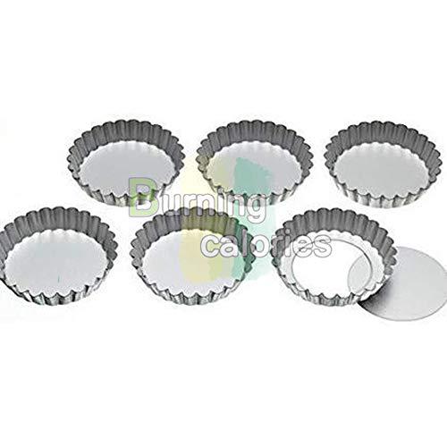 J * Myi Moules Moule à tartelette cannelée en acier inoxydable avec supports de courroie, 14 cm (lot de 6)
