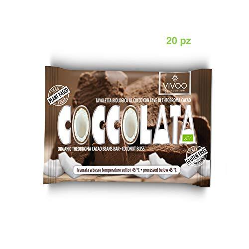 VIVOO RE-EVOLUTION | COCCOLATA - Cremoso al Cocco |Cioccolato Raw Biologico | No: Glutine, Latticini, Soia, OGM | Vegano, Kosher | Ricco di Nutrienti | 20 tavolette x 30 g
