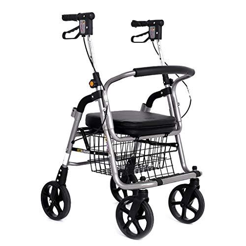 CAIyi Einkaufswagen Einkaufswagen Senioren Walker Auto Roller Lebensmittelgeschäft Einkaufswagen Rollstuhl kann sitzen Allrad Faltrad Last 100 Kg,Silber,50 * 72 * 87-98 cm