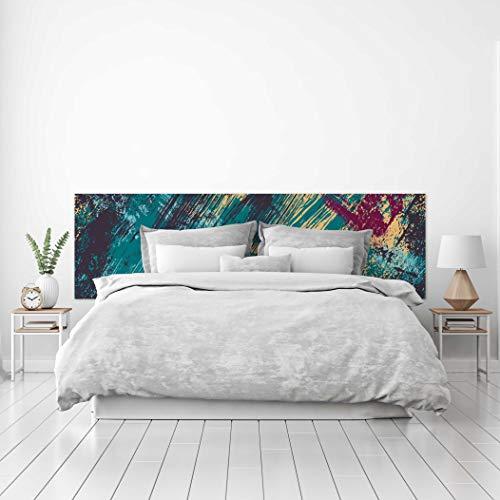 MEGADECOR Cabecero Cama PVC Decorativo Económico Diseño Abstracto Pintura en Tela, Azul Turquesa Oscuro Estilo Grunge (200 cm x 60 cm)