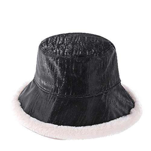 UKKD Bucket hat Bucket Hat Plus Velvet Winter Hats for Women Men Fishing Hat Hollow Lattice Basin Hat Cotton All-Match Caps,A,56-58Cm