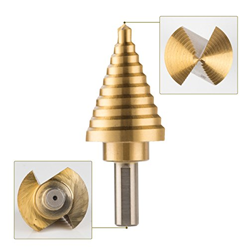 CO-Z 10 Sizes Titanium Step Drill Bit, 1/4 to 1-3/8 Inches High Speed Steel Drill Cone Bits for Sheet Metal Hole Drilling Cutting, HSS Multi Size Hole Stepped Up Unibit for DIY Lovers Electrician