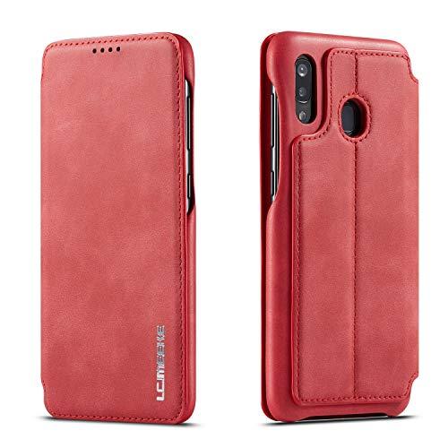 QLTYPRI Étui à rabat en cuir pour Samsung A40 Series avec fermeture magnétique dissimulée, Cuir synthétique Polycarbonate, Rouge, Samsung Galaxy A40